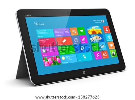 Creative abstract mobility and wireless communication business office internet web concept: tablet computer PC with color touchscreen interface with colorful icons isolated on white background - stock photo