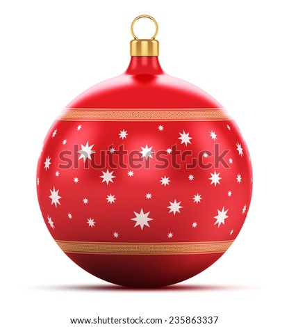 Creative abstract New Year 2015 and Xmas celebration concept: red color shiny metallic glass Christmas ball with colorful star decoration ornament design isolated on white background - stock photo