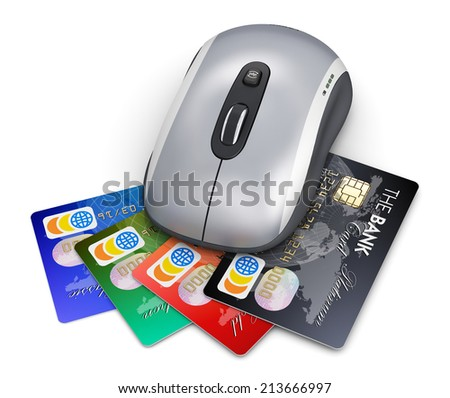 Creative abstract online money shopping and internet banking commercial business technology concept: wireless laser computer PC mouse and stack of color credit cards isolated on white background - stock photo