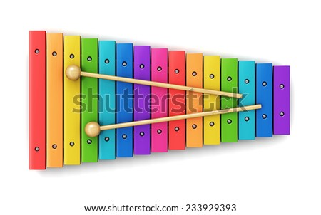 Creative abstract percussion musical instrument and music art creation concept: colorful rainbow wooden xylophone with two wood drum sticks isolated on white background - stock photo