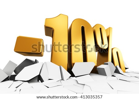 Creative abstract sale and discount business commercial advertisement concept: 3D render illustration of golden minus 10 percent price cut off text on cracked surface isolated on white background - stock photo