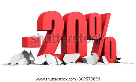 Creative abstract sale and discount business commercial advertisement concept: red 20 percents price cut off text on cracked surface isolated on white background - stock photo