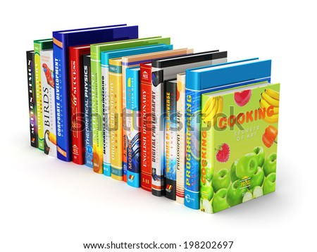 Creative abstract science, knowledge, education, back to school, business and corporate office life concept: color hardcovers books isolated on white background - stock photo