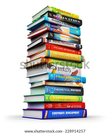 Creative abstract science, knowledge, education, back to school, business and corporate office life concept: big high stack or pile of color hardcover books isolated on white background - stock photo
