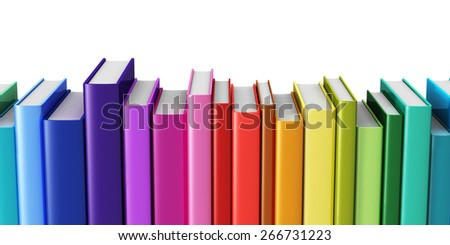 Creative abstract science, knowledge, education, back to school, business and corporate office life concept: rainbow color hardcover books isolated on white background - stock photo