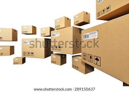 Creative abstract shipping, logistics and retail parcel goods delivery commercial business concept: group of corrugated paper cardboard box packages isolated on white background - stock photo