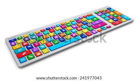 Creative abstract social media network and computer internet web www communication concept: PC keyboard with color key buttons with social networking icons isolated on white background - stock photo