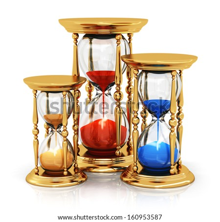 Creative abstract time and vision perspective business concept: set of golden vintage hourglasses or sandglasses isolated on white background with reflection effect - stock photo