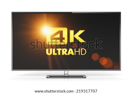 Creative abstract ultra high definition digital television screen technology concept: 4K UltraHD TV or computer PC monitor display isolated on white background with reflection effect - stock photo