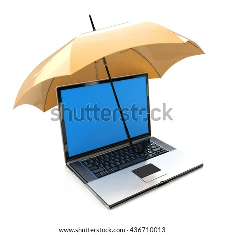 Creative antivirus security and computer data privacy and protection technology ?business concept: modern laptop or office notebook PC covered by yellow umbrella or parasol on white. 3d illustration - stock photo