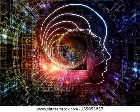 Creative arrangement of outline of human head and symbolic elements as a concept metaphor on subject of knowledge, science, technology and education - stock photo