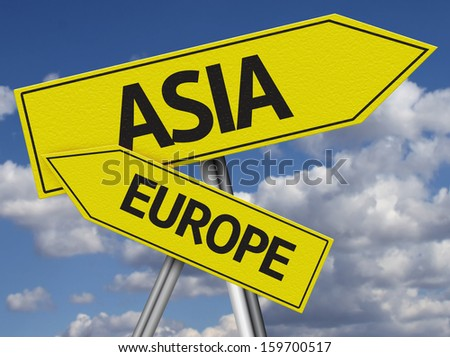 Creative Asia and Europe Sign in a beautiful sky as the background - stock photo