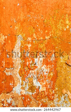 Creative beautiful bright orange background, cracks and scratches on the concrete. Grungy concrete surface. Great background or texture for your project. - stock photo