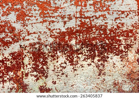 Creative beautiful bright red background, cracks and scratches on the concrete. Grungy concrete surface. Great background or texture for your project. - stock photo