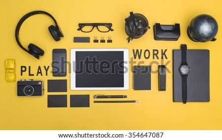Creative black office items tablet hero header - stock photo