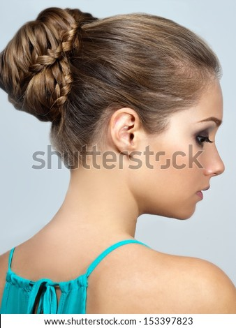 creative braid hairstyle  - stock photo