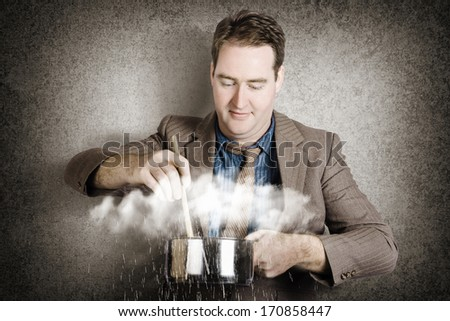 Creative business concept of a businessman stirring up a cook pot of stormy clouds with falling rain in a depiction of a strategy metaphor COOKING UP A STORM - stock photo