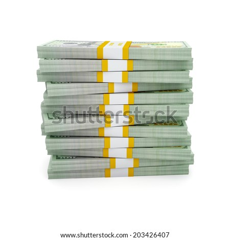 Creative business finance making money concept - stack of new new 100 US dollars 2013 edition banknotes (bills) bundle stack isolated on white background money stack on white - stock photo