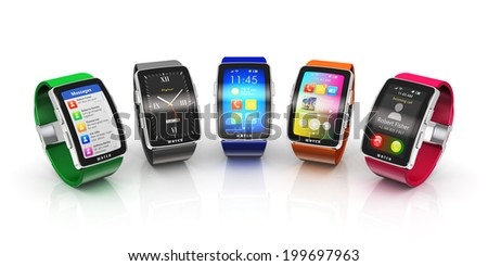 Creative business mobility and modern mobile wearable device technology concept: collection of color digital smart watches or clocks with colorful screen interface isolated on white background - stock photo