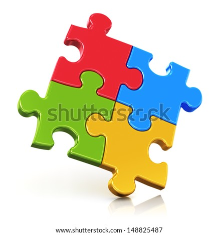 Creative business, office, teamwork, partnership and communication corporate concept: logo from four color red, blue, green and yellow puzzle pieces isolated on white background with reflection effect - stock photo