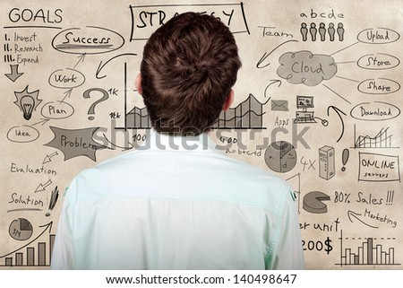 Creative businessman looking to develop innovative business plan when looking to hand drawn marketing illustration on a texture wall - stock photo