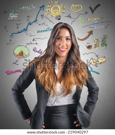 Creative businesswoman think about new ideas - stock photo