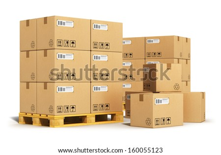 Creative cargo, delivery and transportation logistics storage warehouse industry business concept: group of stacked corrugated cardboard boxes on wooden shipping pallets isolated on white background - stock photo