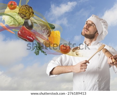 Creative chef plays a harmony of food - stock photo