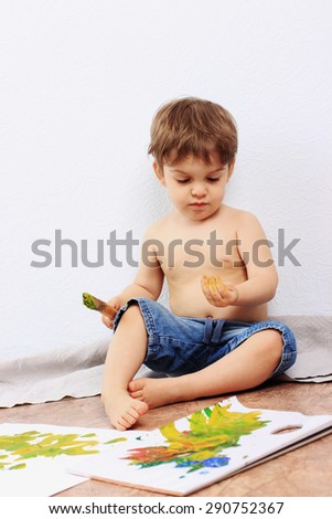 Creative child or Painting, Clever child, Drawing baby, Art - stock photo
