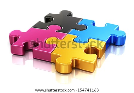 Creative color printing computer technology, typography, press and publishing abstract concept: colorful CMYK puzzle jigsaw pieces isolated on white background with reflection effect - stock photo