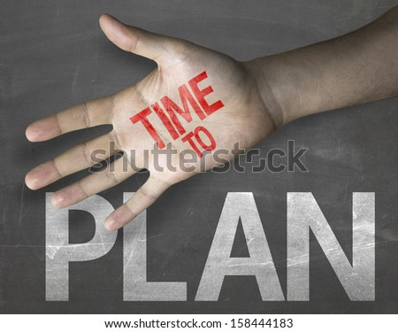 """Creative composition with the message """"Time to Plan"""" - stock photo"""