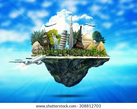 creative concept of  island full of famous monuments. traveling design - stock photo