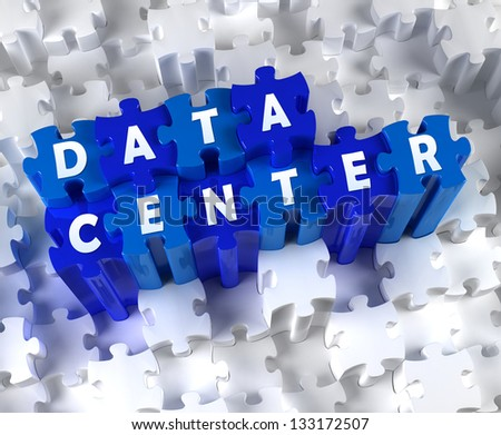 Creative 3D pieces of puzzle and word DATA CENTER - stock photo