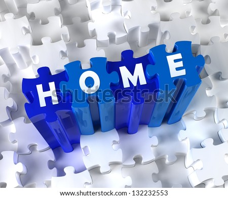 Creative 3D pieces of puzzle and word Home - stock photo