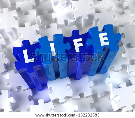 Creative 3D pieces of puzzle and word Life - stock photo