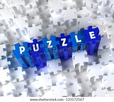Creative 3D pieces of puzzle and word PUZZLE - stock photo