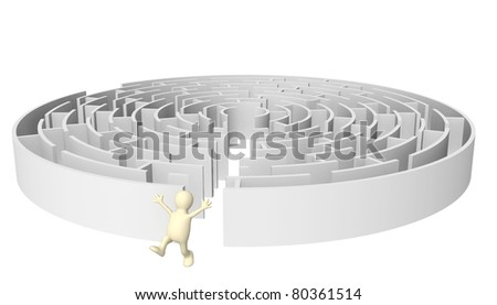 Creative decision of a problem. Happy puppet running out of the maze - stock photo