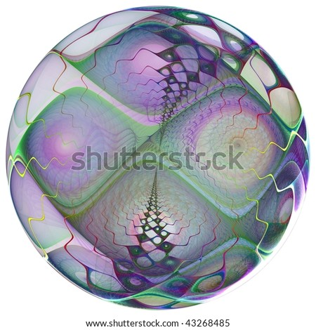 Creative design of a 3D bauble on a white background suitable for a Spring or Summer theme or for business and birthday cards, art projects or brochures. - stock photo