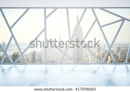 Creative empty interior with abstract panoramic windows and New York city view. 3D Rendering - stock photo