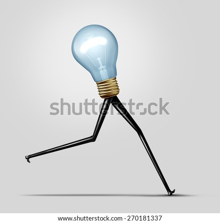 Creative energy and quick thinking business concept as a glowing bright light bulb with long legs running fast as a creativity performance metaphor for fast production and idea solution. - stock photo
