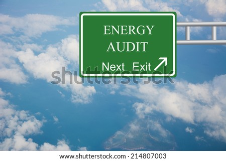 Creative ENERGY AUDIT Road Sign concept. - stock photo