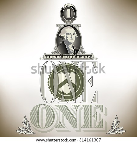 Creative financial background based on one dollar bill elements - stock photo