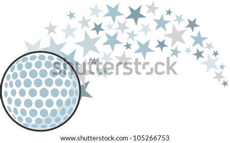 Creative Golf Ball Illustration hitting like a golf professional star - stock photo