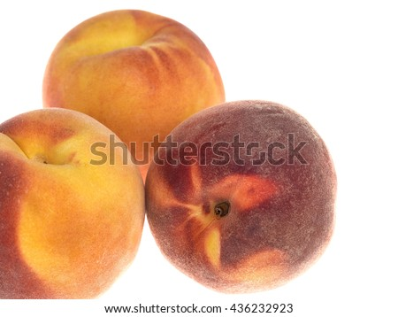Creative Group of Fresh Ripe Juicy Vegetarian Peaches Isolated Against A Plain White Background With Copy Space - stock photo