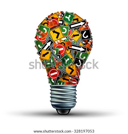 Creative guidance concept and Ideas direction as a business symbol with a group of highway and road signs in the shape of a light bulb as a creativity stress metaphor for an inspiration guide. - stock photo