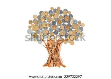 Creative hand made money tree isolated on white - stock photo