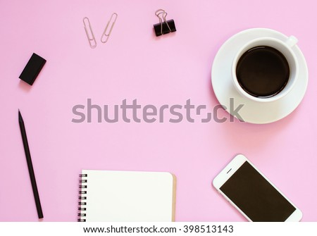 Creative header design mockup set of workspace desk with smartphone, coffee, stationery and notebook with copy space background - stock photo