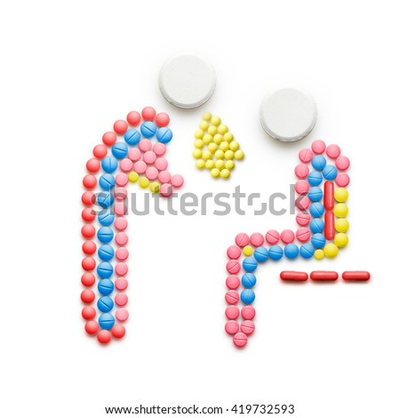 Creative health concept made of drugs and pills, isolated on white. A sick person in pain vomiting near another person. - stock photo
