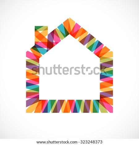 Creative house decoration icon. - stock photo