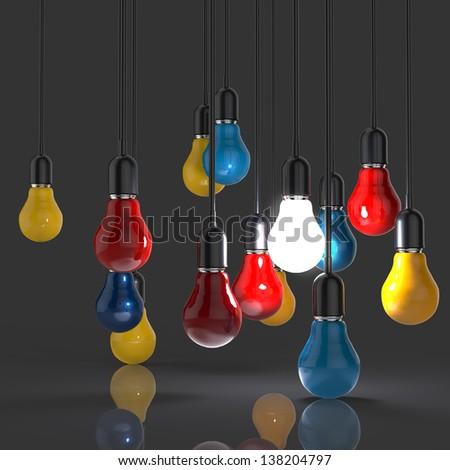 creative idea and leadership concept light bulb as leadership concept - stock photo